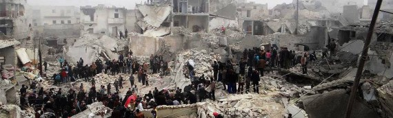 Searching for survivors of barrel bombs in Aleppo